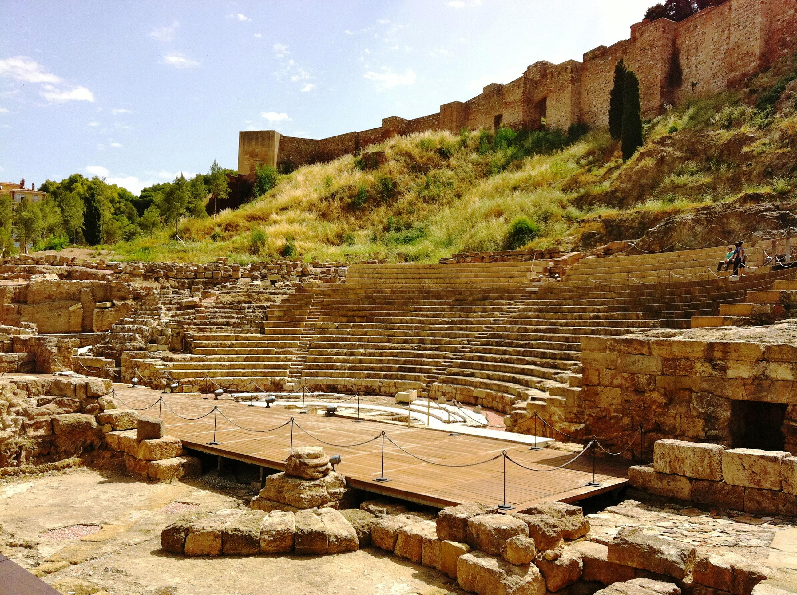 malaga, ruins of the roman theater, visit in malaga, contemporary art center, malaga botanical garden